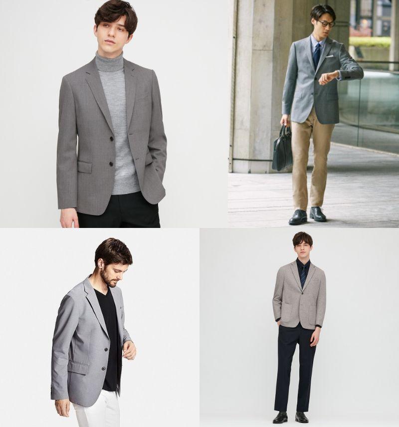 ユニクロ グレーのジャケット・紺のパンツ