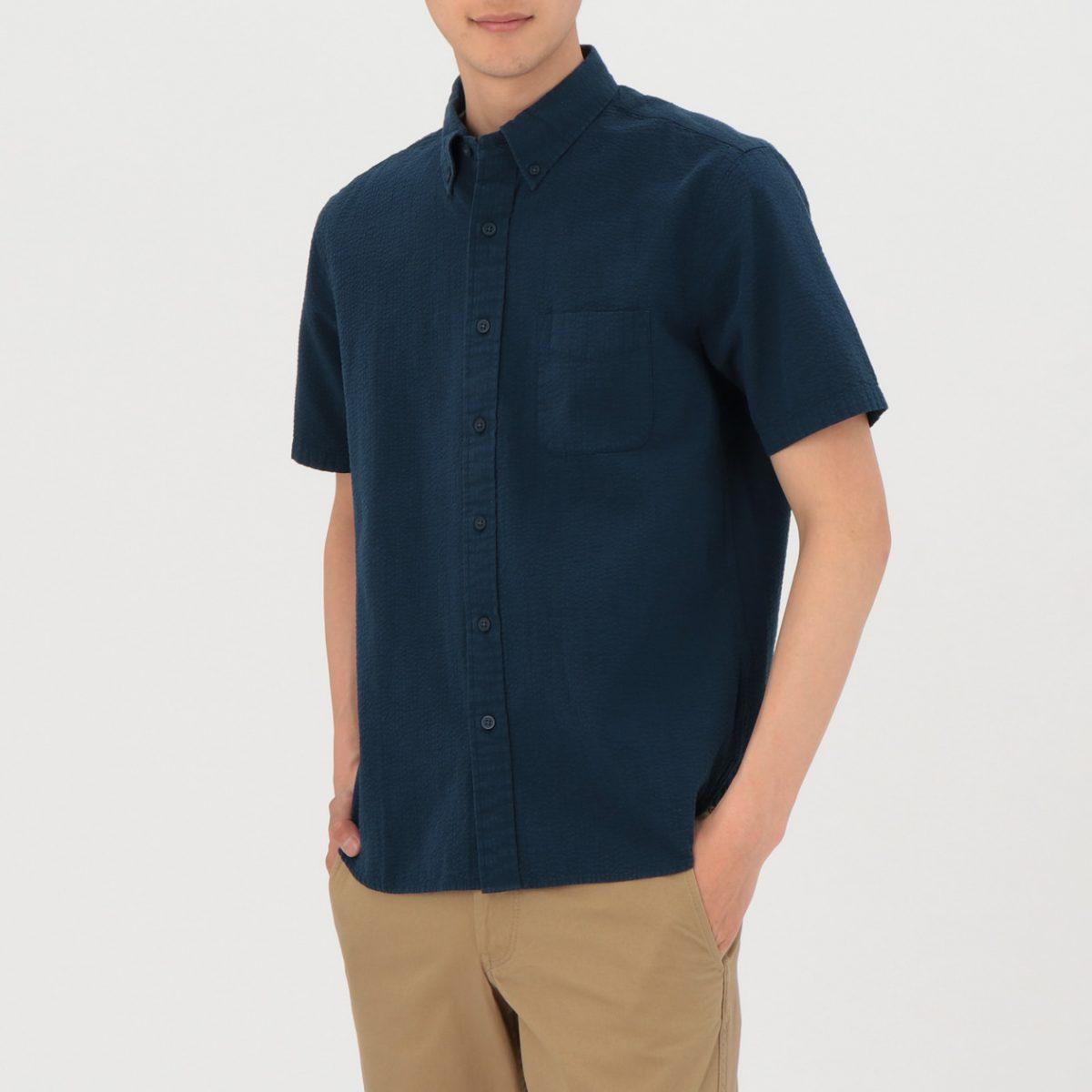 無印良品 新疆綿サッカーボタンダウン半袖シャツ