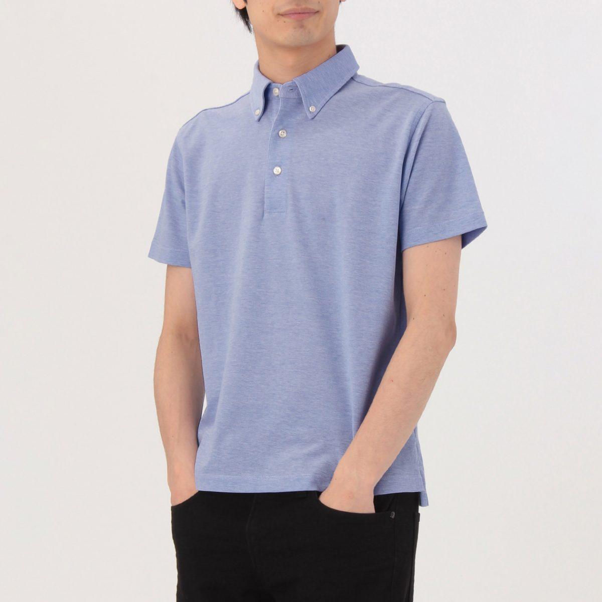 無印良品 涼感 鹿の子編みボタンダウンポロシャツ