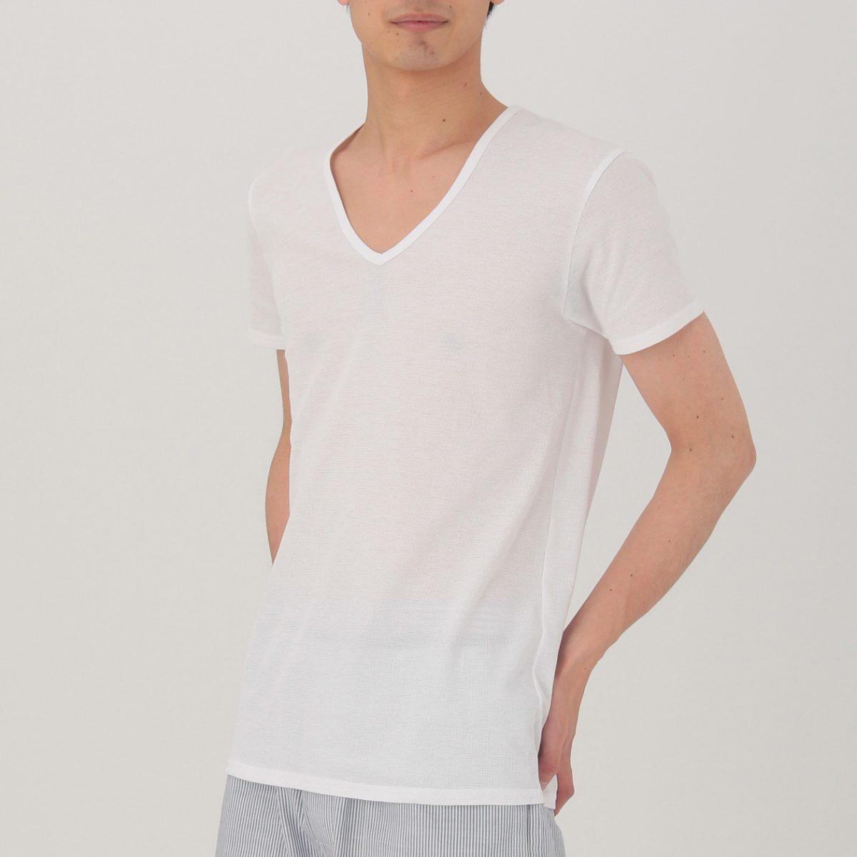 無印良品 さらっとした 涼感メッシュ編みVネック半袖Tシャツ