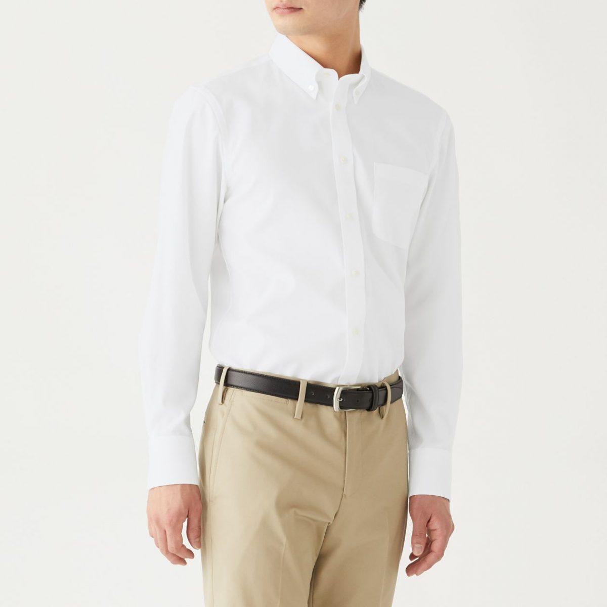 無印良品 新疆綿ストレッチ形態安定オックスボタンダウンシャツ