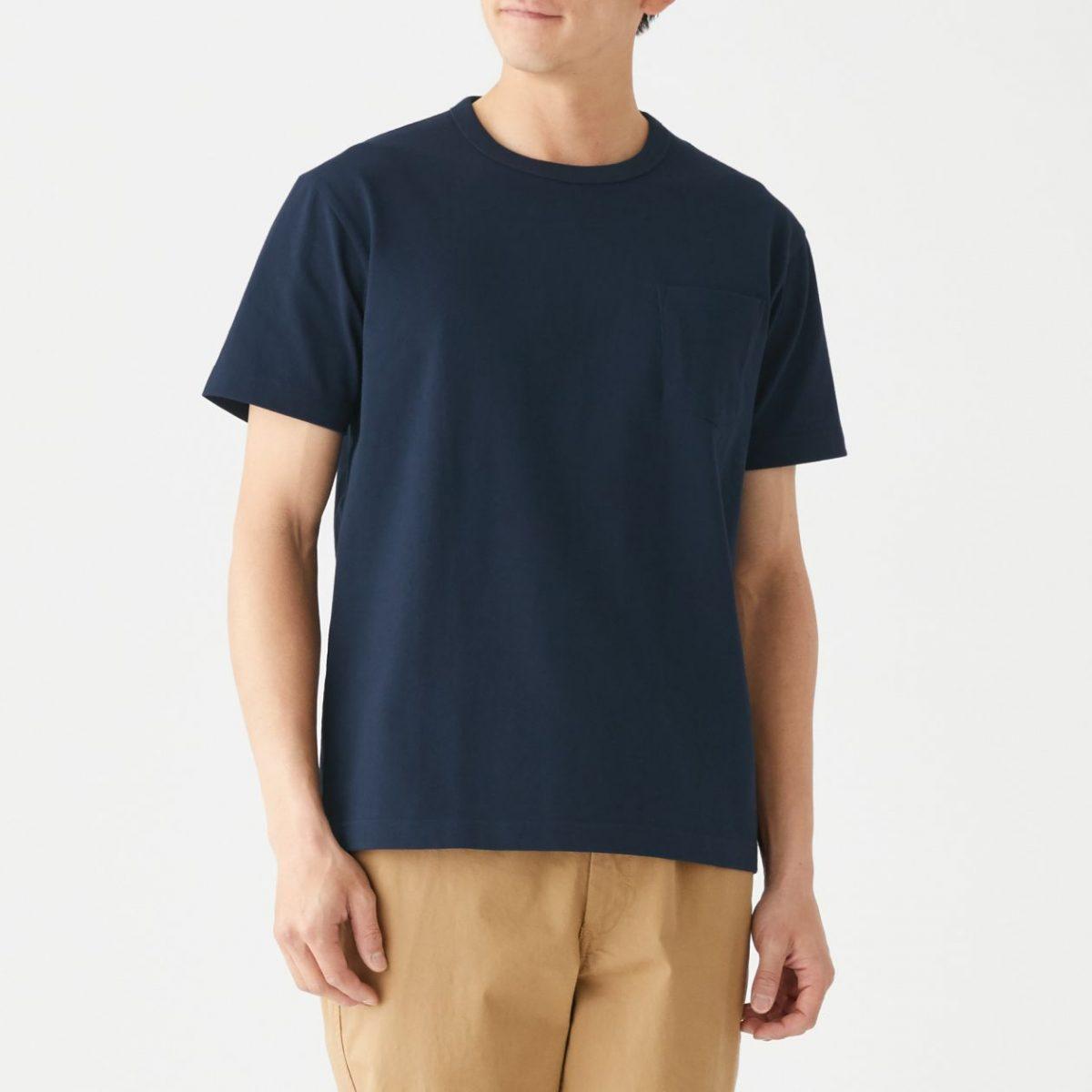 無印良品 太番手 天竺編みポケット付き半袖Tシャツ
