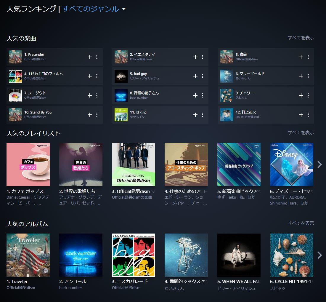 Amazonプライムmusic デスクトップ版